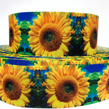 "GROSGRAIN RIBBON  7/8"", 1.5"" Sunflowers Mother's Valentine's Day Flowers Printed"