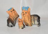 Bone China Japan Yorkshire Terrier Dog Figurine Family #2