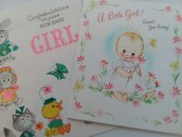 2 Vtg A LITTLE GIRL How Lucky & CONGRATULATIONS on New Baby Girl GREETING CARDS