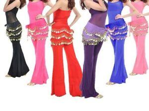 3 Rows Belly Dance Hip Waist Wrap Scarf Skirt Belt Dancing Costume Gold Coins UK