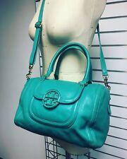 $598 TORY BURCH Aqua Amanda Middy Satchel handbag Bag Crossbody Leather Purse NR