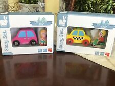 Lot of 2 New Janod Story Set City-Yellow Taxi Cab & Scooter/Pink Car & Girl Toys