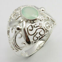 Natural Aqua Chalcedony CELTIC Ring Size 6.75 925 Sterling Silver New Stone