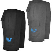 Mens Fleece Summer Elasticated Cargo Shorts Casual HLY Gym Pants M-2XL