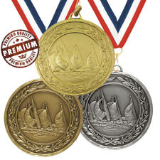 SAILING MEDAL 50mm EMBOSSED TOP QUALITY, WITH FREE RIBBON, GOLD SILVER BRONZE