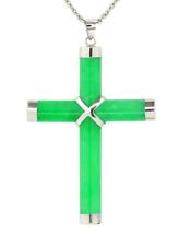 "Green Jade Cross 14K White Gold Jade Cross Pendant - 1 3/4"" Total Drop"