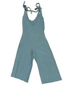SLIDE SHOW jumpsuit women's size AU8 70% rayon 30% linen green long wide VGC