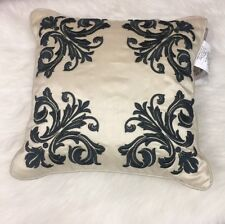 "Croscill Irish 16""x16"" Square Decorative Pillow Ivory Green Floral Embroidered"