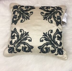 """Croscill Irish 16""""x16"""" Square Decorative Pillow Ivory Green Floral Embroidered"""