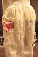 Antique ~ Rare Vintage Apron~ Linen with Floral Appliques~ AMAZING FIND