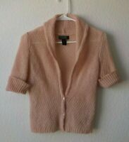 Express Sweater Top M Pink Mohair Blend Open Knit Button Down