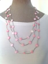 graduating multi strand necklace fair trade Pink real shell silver tone 3 row