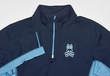 Psycho Bunny Track Jacket L in Navy Sky Blue Color Block Polyester 1/4 Zip Top