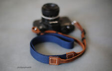 25mm blue nylon canvas handmade  leather Adjustab camera neck shoulder strap