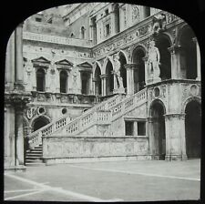 Glass Magic Lantern Slide VENICE DUCAL PALACE STAIRCASE C1910 PHOTO ITALY