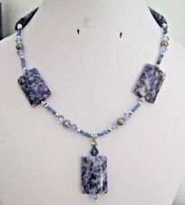 "16"" Necklace with Sodalite Slabs, Metal Spacers, Crystal Bicones & Glass Beads"