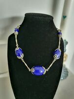 Art Deco Neiger Cobalt Blue Glass Bead & Silver Link Necklace Machine Age