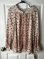 Style & Co Womens Ivory Floral Printed peasant Blouse Size M Hippie