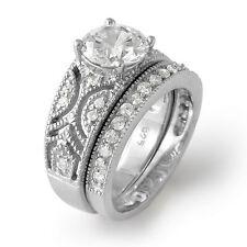 Round Cubic Zirconia Bridal Engagement Wedding Set Ring Sterling Silver 925 SZ 6
