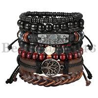 7pcs Women Men Tree of Life Skull Braided Leather Tribal Wrap Bracelet Wristband