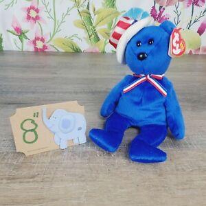 "Ty Beanie Babies Sam The Blue Bear Plush 8"" 2003 Retired Patriotic"