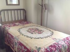 Reduced! Pair of Twin Bed Covers Belgium Floral Tapestry Burgundy, Tan & Ecru