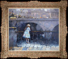 """Hand-painted Original Oil painting art knife Small girl On Canvas20""""x24"""""""