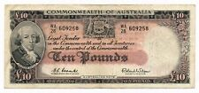 Australia 10 Pounds George VI Note Coombs Wilson 1960 R.63 Rare VF