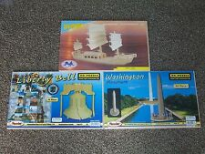 (3) Wood Craft Construction Model / Puzzle - Liberty Bell / Monument / Junk Ship