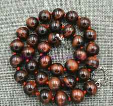 """18"""" Tibetan silver love clasps Charming 12Mm Red tiger's-eye beads necklace"""
