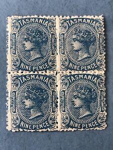 GB Tasmania 1896 SG227a Nine-pence Blue Block of 4 - Mint NH