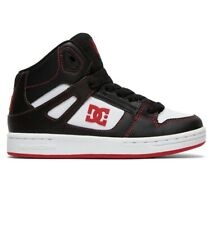 DC SHOES PURE HIGH TOP BLACK RED WHITE KIDS TRAINERS