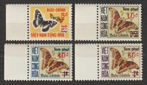 "1974 South Vietnam Postage Due Stamps "" Butterflies "" Sc # J21 - J24 MNH"