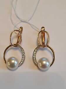 Russian solid rose gold 585/14k white pearl CZ earrings snap closure AWESOME