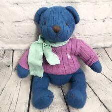 Ralph Lauren Teddy Bear 2004 Polo Blue Purple Cable Knit Sweater Scarf Plush
