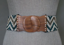 Beaded Turquoise White Wooden Buckle Stretchy  Belt Indonesia Size S
