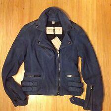 "BNWTs. Women's BURBERRY BRIT ""Sandfield"" Suede Moto Jacket. Sz. 4 Blue $1995"