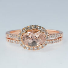 New 14K Rose Gold 1.00ct Morganite & Diamond Accented Halo East West Bridal Set