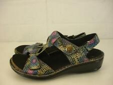 Womens 8 D W Aravon Collette Snake Print Sandal Adjustable Leather T-Strap Wedge