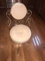 Charming Hollywood Regency Vanity Chair Stool Gold Metal Scroll's