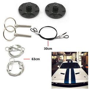 2 Pcs Black Universal Auto Racing Hood Pin Appearance Kit CNC Billet Aluminum