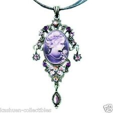 Purple CAMEO made with Swarovski Crystal Victorian Style Classy leather Necklace