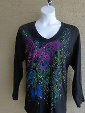 NEW JUST MY SIZE GLITZY GRAPHIC L/S V NECK TEE SHIRT BLACK/ PURPLE BUTTERFLY  4X