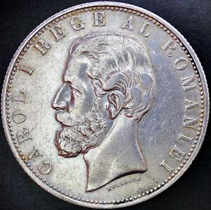 "Romania Silver Crown 5 Lei 1881 wide ""G"""