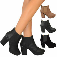 LADIES WOMENS CHELSEA BOOTS MID BLOCK HEEL CASUAL ANKLE BOOT ELASTIC SLIP ON 3-8