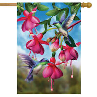 "Flight Of The Hummingbirds Spring House Flag Floral 28"" x 40"" Briarwood Lane"