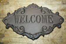 Cast Iron Antique Victorian Style Welcome Plaque Sign Rustic Ranch Wall Decor