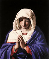 Oil painting Battista Salvi da Sassoferrato - the virgin in prayer Madonna art