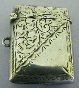 Antique Victorian Solid Sterling Silver Vesta Matchsafe Fob Chester 1899