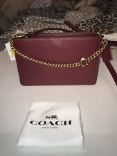 Coach Signature Chain Leather Crossbody 78801 Deep Red New